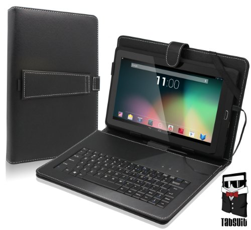"TabSuit 10.1"" Tablet Folio Keyboard with Stand Universal PU Leather case for Dragon Touch R10 Tablet and more 10.1"" Tablets"