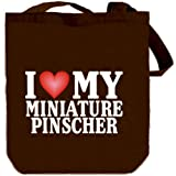I LOVE Miniature Pinscher Canvas Tote Bag