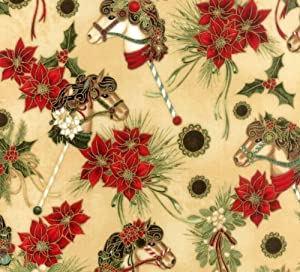 Hoffman 'Dashing All the Way' Hobby Horses and Poinsettias on Cream Christmas Cotton Fabric - 27""