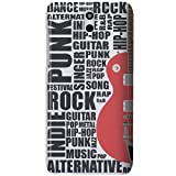 HTC Desire 610 Case - White Hard Plastic (PC) Cover with Red / Black Guitar Words Design