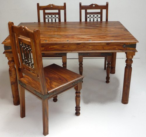 Indian Maharani Jali Table and 4 Chairs