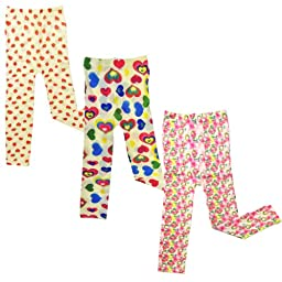 Wrapables Colorful Footless Tights Leggings, Set of 3 ( Strawberry, Hearts, Blossom )