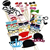 Tinksky Photo Booth Props 60 piece DIY Kit for Wedding Party Reunions Birthdays Photobooth Dress-up Accessories & Party Favors, Costumes with Mustache on a stick, Hats, Glasses, Mouth, Bowler, Bowties
