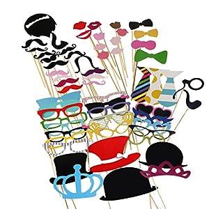TinkSky 60Pcs DIY Photo Booth Atrezzo Favorecer Incluyendo Bigotes Gafas Pelo Arcos Sombreros labios spajaritas coronas para el partido, boda, cumpleaños del favor, de la graduación
