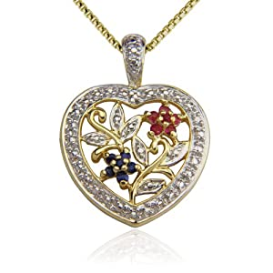 18K Yellow Gold Plated Ruby, Sapphire and Diamond Accent Heart Pendant