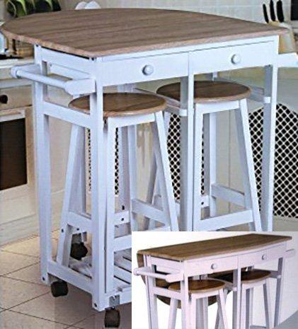 Enrollable Plegable Mesa Auxiliar Para Cocina Con Mesa Y 2 Taburetes Tienda Arquitexs