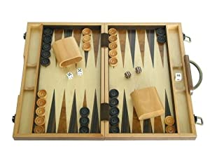 15 in. Wood Backgammon Set - Burlwood Wooded Board
