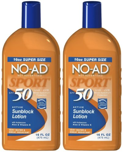 No Ad Sport Sunblock Lotion Spf 50 16 Oz - 2 Pk.