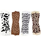 My Little Legs Animal print 4 pack of leg warmers in cow, giraffe, zebra & leopard for babies, toddler & child, One Size