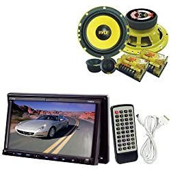See Pyle Vehicle Audio System for Car, Van, Truck, Mobile etc. - PLDN73I 7' Double DIN TFT Touch Screen DVD/VCD/CD/MP3/MP4/CD-R/USB/SD/SDHC-MMC Card Slot/AM/FM/iPod/iPhone Connector - PLG6C 6.5' 400 Watt 2-Way Custom Component System (Pair) Details
