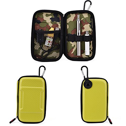 Vape & Mod Portable Travel Case Compatible with Vapor Smoking Electronic Hookah Pen |Semi-hard Protective Shell with Standing Capability & Carabiner Hook for Easy Attachment|Glossy Lime Green & Green Camo (Vapors For Smoking compare prices)