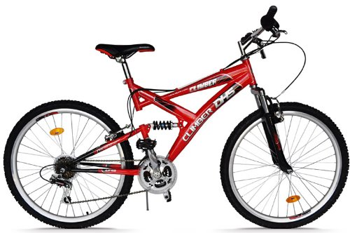 mountainbike 26 zoll dhs climber vollgefedert 18 gang shimano tz farbe rot fahrrad testsieger. Black Bedroom Furniture Sets. Home Design Ideas