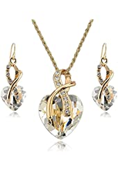 Jewelry Necklace and Earrings Set - YiaMia(TM) Clear Crystal Heart Pendant Necklace and Heart Earrings 18K Gold Plated Imitated Jewelry Sets for Women Girls Teen Girls Wedding Party Dresses
