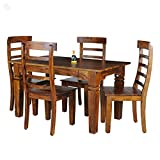 Royal Oak Emerald 4 Seater Dining Table Set (Honey Finish, Brown)