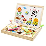 Lewo Farm Magnetic Board Games Double-face Drawing Board Wooden Education Toys for Kids Dry Erase Board Jigsaw Puzzle Games