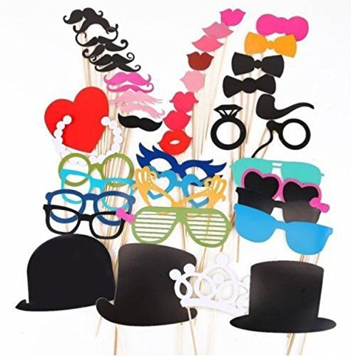 44PCS Colorful Props On A Stick Mustache Photo Booth Party Fun Wedding Christmas Birthday Favor - 1