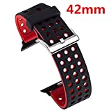 X4-TECH Apple Watch Band,Soft Silicone Sport Replacement Strap with Adjustable Buckle and Quick Release for Apple iWatch/New Apple iWatch Series 2/ Apple Watch Series 1/Nike+ (42mm-Black/Red)