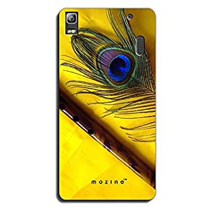 Mozine Flute And Feather printed mobile back cover for Lenovo A7000