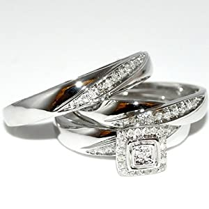 Real Diamond Trio Wedding Set 3pc Men & Womens Ring + band 10K White gold .15ct