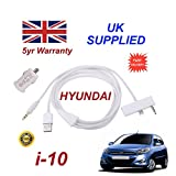 Hyundai i10 iphone 5 5c 5s connectivity audio 3.5mm Aux & USB Cable with USB Power Adapter