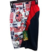 Shorts Performance United We Stand USA AMERICA Red White Navy Size Youth Large