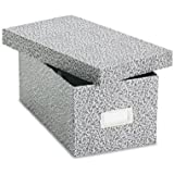 Oxford Reinforced Board 4 x 6 Card File With Lift-Off Cover, Black/White Agate,1 Per Box , (40589)