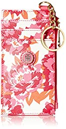 Tommy Hilfiger TH Floral Mini Wallet Key Fob ID Holder, Pink/Coral, One Size