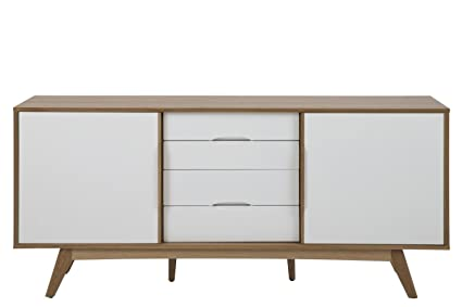 White Oak Sideboard 180 x 44 x 33  with 4 Drawers and 2 Doors Sideboard Chest of Drawers Lacquer Clear White