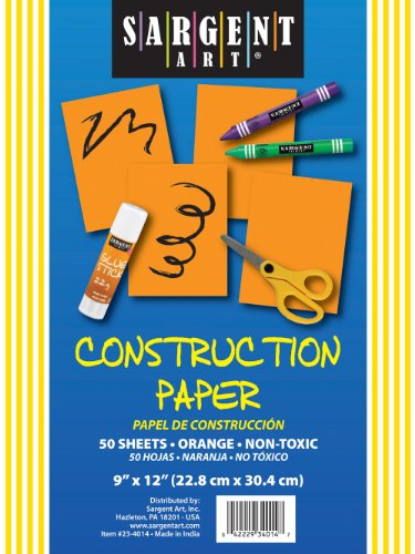Sargent Art 23-4014 50-Count Orange Construction Paper - 1