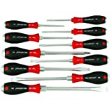 Wiha 53099 Soft Finish Heavy Duty Screwdriver Set, Slotted/Phillips, 10-Piece