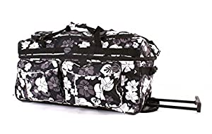"WOMENS & MENS & GIRLS, 26""GREY Flowers,LARGE 26 inch wheelie bag Large holdall (DIMENSION 26""x12.5""x16.5"") Wheeled Holdall,Travel Holiday Luggage Holdall Weekend Bag, Maternity Bag, Hospital Bag, Baby Bag, School College Holdall, Sport Gym Bag."
