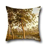 Throw Pillow Case Of Oil Painting John Glover - Natives On The Ouse River, Van Diemen's Land 18 X 18 Inches / 45 By 45 Cm,best Fit For Gril Friend,play Room,dance Room,boys,kids,bar Twin Sides
