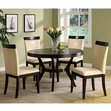 Downtown 5-Piece Espresso Finish Dining Table Set