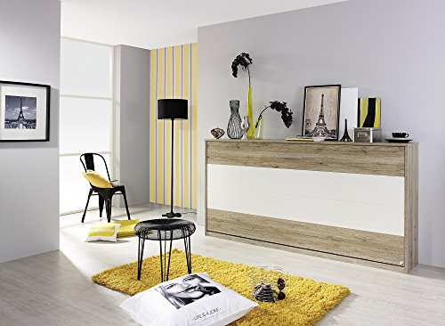 Matelpro-Armoire-lit contemporaine coloris chêne clair/blanc Alberto