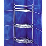 Satina Wire Triple Shelf Corner Shower Basket Chromeby Norwood