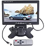 "Dragonpad 7"" TFT LCD Color 2 Video Input Car RearView Headrest Monitor DVD VCR Monitor With Remote and Stand & Support Rotating The Screen"