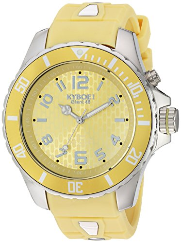 Kyboe. Silver Reloj analógico para mujer Quartz de goma amarillo KY 038-48