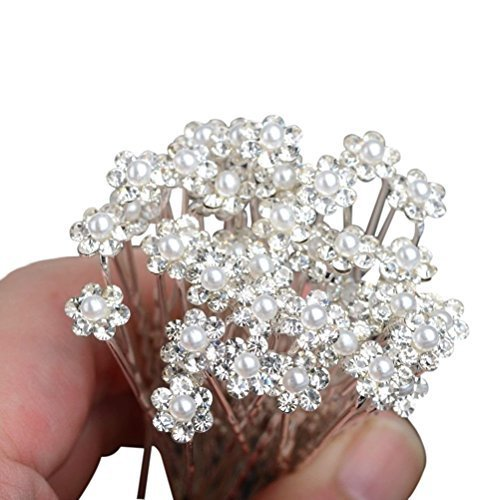 Pixnor Bridal Wedding Hair Pins Prom Faux Small Pearl Rhinestone Crystal Flower Hair Styling U Pins 10 pcs