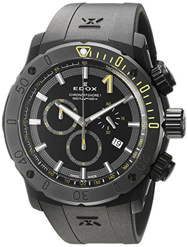 Edox-Mens-Chronoffshore-1-Swiss-Quartz-Stainless-Steel-and-Rubber-Diving-Watch-ColorBlack-Model-10221-37N-NINJ