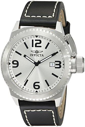 Invicta - Specialty - 1110 - Orologio da polso da uomo, argento, cinturino in  pelle, nero