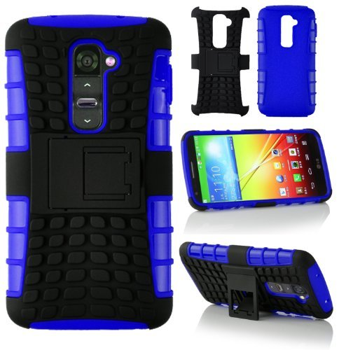 Magic Global Gadgets - New Blue Heavy Duty Armour Triple Defender Tough Shockproof With Stand Hard Case Cover For Lg G2 D802 With Screen Guard & Stylus