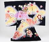 お宮参り 着物 女児 祝着 日本製「正絹刺繍入り金彩 黒地に花盛車・桜吹雪・鞠」
