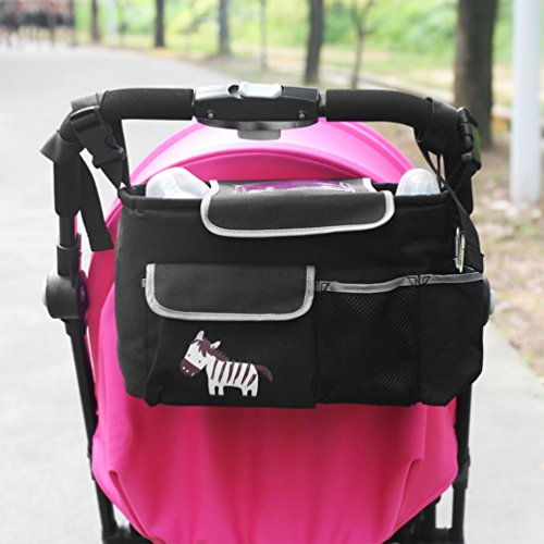 NuoYo Organiser da passeggino,Organizer per passeggino, accessori per passeggino Impermeabile, Pieghevole, Leggero, Multi Funzioni-Organizer per Borsa, Baby Stroller Organizer, Zebra zebrato.