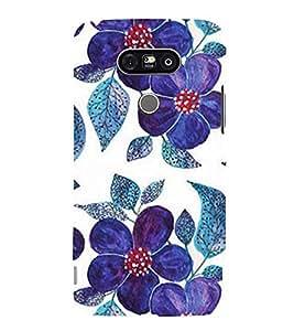 Printvisa Premium Back Cover Blue Floral Pattern Design For LG G5::LG G5 Dual H860N with dual-SIM card slots