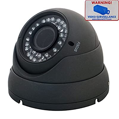 eSecure ES185380 CCTV Camera - 1200TVL Sony IMX238 HD Day Night Vision 2.8-12mm VariFocal Lens 36 IR Led Indoor Outdoor Home Security Surveillance Aluminum Dome Camera (Gray)
