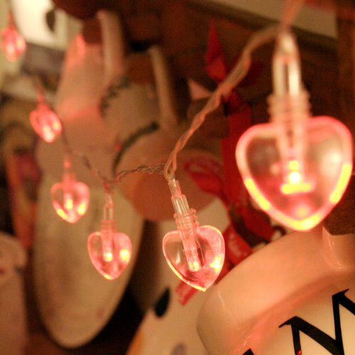 10 Red Led Battery Operated Heart Lights Valentines