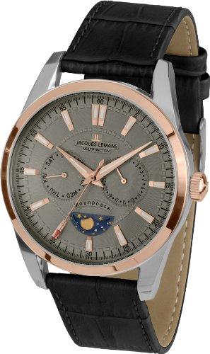 Jacques Lemans Men's Watch XL Analogue Quartz Liverpool Moonphase 1-1804C Leather