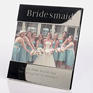 Engraved Bridesmaid Shiny Silver Photo Frame - Personalise with your own message