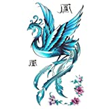 King Horse Tattoo sticker female waterproof blue phoenix pattern peony
