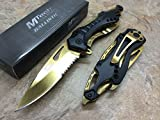 M Tech Tactical Folding Knife Gold Titanium Coating Stainless Steel Blade Knife